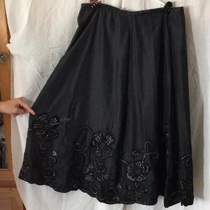 Silk Skirt with Appliqué